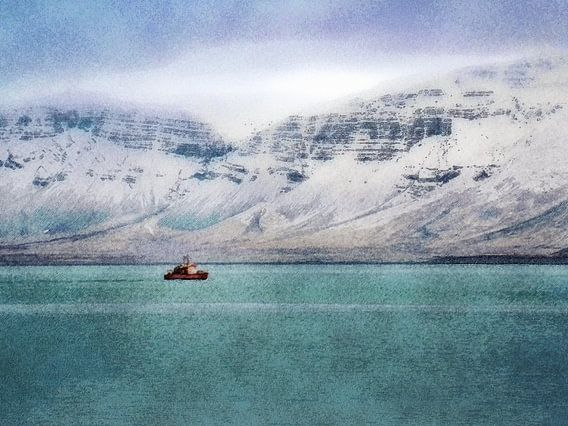 Bootje in de baai van Reykjavik, IJsland