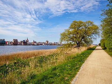 Uitzicht op de stad Rostock vanaf de oever van de Dierkower Damm van Animaflora PicsStock