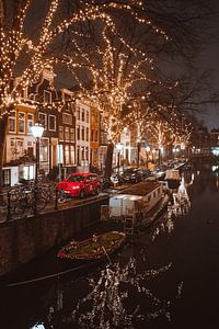 Kerstverlichting op de Spiegelgracht Amsterdam van Ali Celik