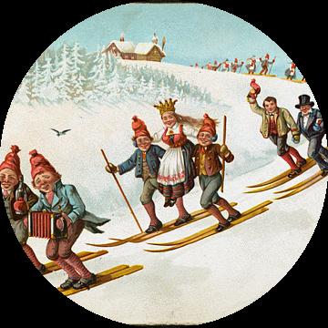 Julekort med bondebryllup og ski, Wilhelm Larsen van De Canon