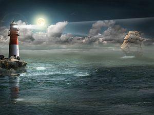 Segelschiff unter Beleuchtung von