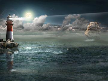 Segelschiff unter Beleuchtung von Monika Jüngling