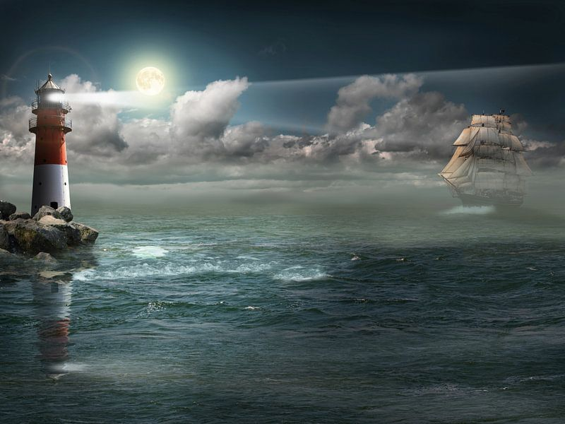 Segelschiff unter Beleuchtung