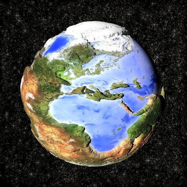 De omgekeerde wereld, cartoon - Europa en Afrika  van Frans Blok