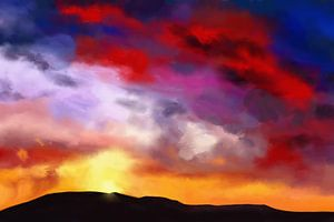 Kleurrijk schilderij van een landschap van