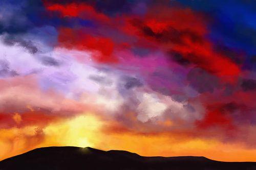 Kleurrijk schilderij van een landschap