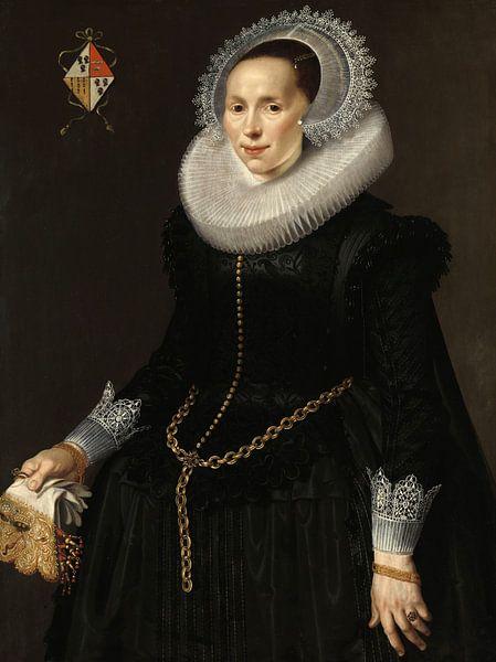 Portret van Johanna Le Maire, Nicolaes Eliasz. Pickenoy - ca. 1622 van Het Archief