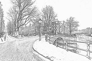 Pentekening van besneeuwd Amsterdam in de winter in Nederland
