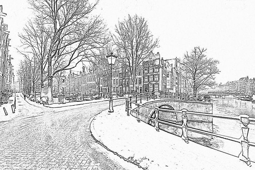 Pentekening van besneeuwd Amsterdam in de winter in Nederland sur Nisangha Masselink