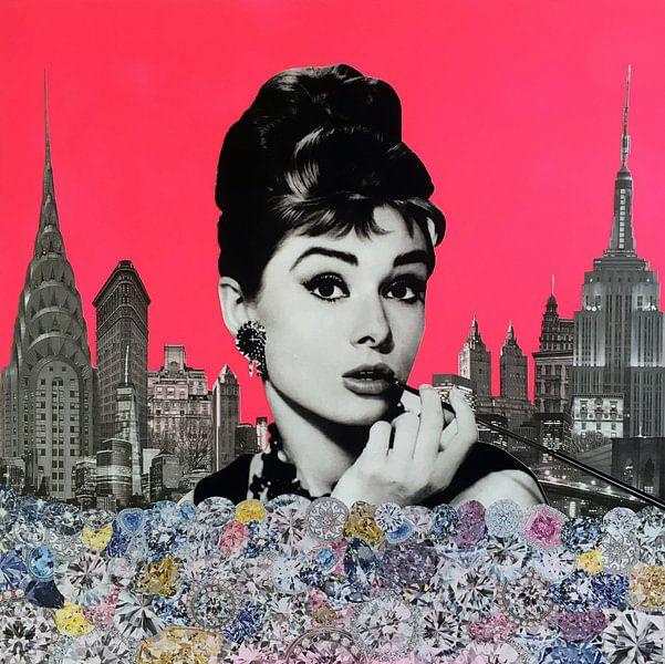 Audrey Hepburn, 2015, (mixed media) von Anne Storno