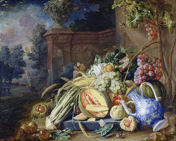 Stilleben mit Gemüse und Obst vor einer Gartenbalustrade, Cornelis de Heem