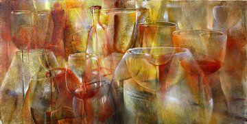 Feest - glazen en flessen in geel, goud en oker van Annette Schmucker