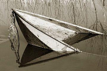 Sunken Ruderboot von Fotografie Arthur van Leeuwen