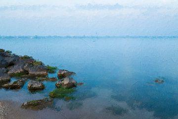 Blauwe rustige zee van Digitale Schilderijen