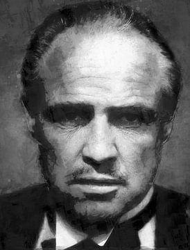 Olieverf portret van The Godfather (zwart wit) van Bert Hooijer