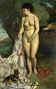 Badende mit einem Gänsehund - Lise am Seineufer, Pierre-Auguste Renoir