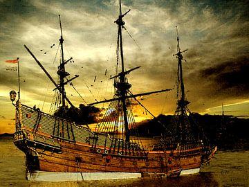 Schiff aus der Vergangenheit bei Sonnenaufgang. (Verblaßter Ruhm) von Cor Heijnen