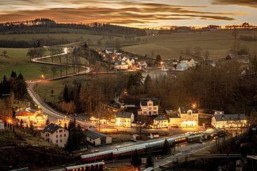 Gezicht op Wolkenstein / Erzgebirge van Johnny Flash