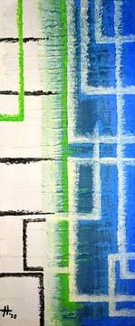 Verwobenes Muster in Blau, Grün, Schwarz und Weiß, I von elha-Art