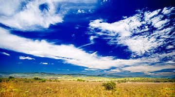 Blauwe lucht in het Zuid Afrikaanse landschap: Gods window, Motlatse Canyon Provincial Nature Reserv van Jeroen Bos