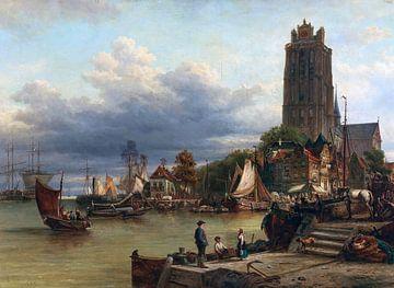 Stadt- und Hafenansicht von Dordrecht, elias pieter van bommel - 1889 von Atelier Liesjes