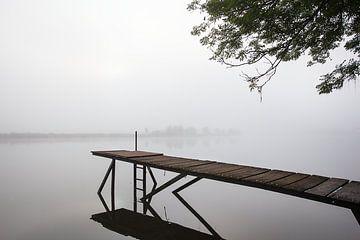 Steiger in de Maas bij mist van Peter de Kievith Fotografie