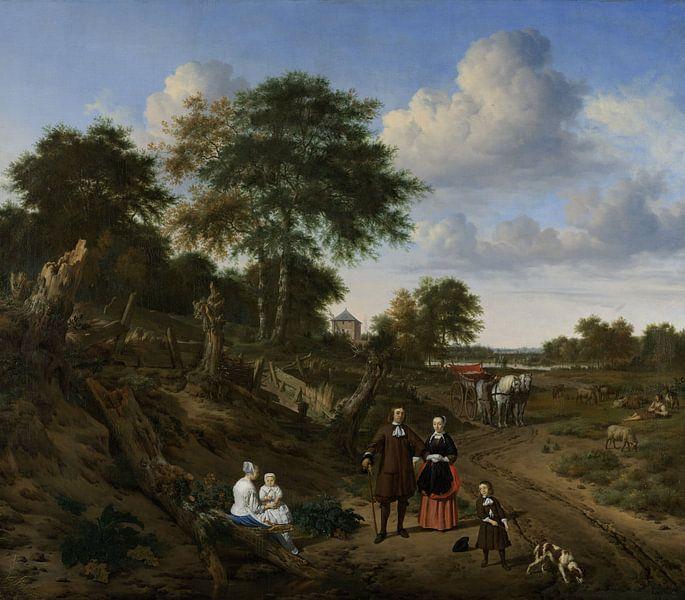 Echtpaar in landschap, Adriaen van de Velde, 1667