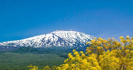 Besneeuwde zijde van de vulkaan Etna op  Sicilië, in de lente