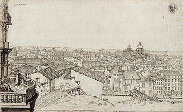 Karl Friedrich Schinkel, View of Rome from Schinkel's apartment on the Monte Pincio - 1803 - 1804 van Atelier Liesjes