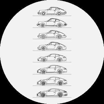 Porsche 911 Evolutie (w) van Artlines Design