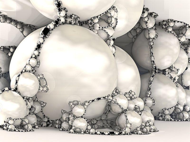 Fractal van marmer wit van Linda T