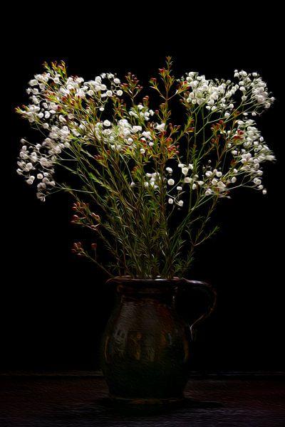 Stillleben Schleierkraut Blumen in Vase klassisch von Tessa Louwerens