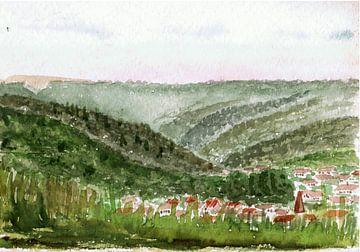 Dorp in het dal omgeven door bos en weiden - aquarel geschilderd door VK (Veit Kessler)