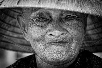 Zwart wit portret Vietnamese vrouw
