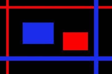 Rood en Blauw op Zwart van Leo Huijzer