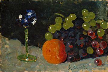 Rudolf Bartels~Stilleben mit Weinglas, Trauben und Blutorange