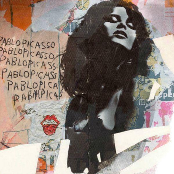Uschi Obermaier- Dadaismus- Plakative Collage - Highlight the lips van Felix von Altersheim