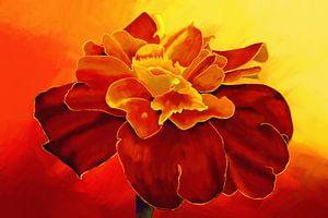 Gemälde einer Tagetesblüte von