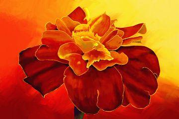 Gemälde einer Tagetesblüte von Tanja Udelhofen