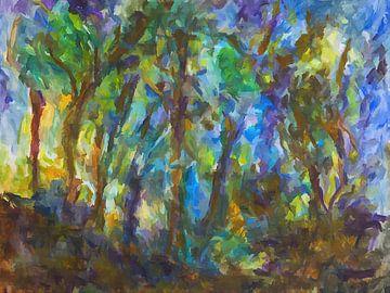 Wald mit Sonnenlicht am Morgen von Paul Nieuwendijk