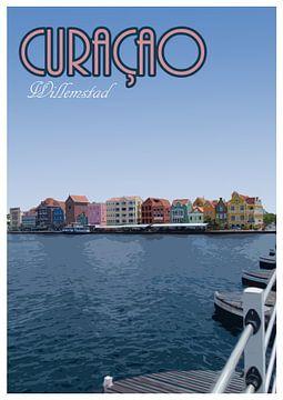 Vintage Poster, Handelskade, Willemstad Curaçao van Discover Dutch Nature