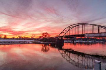 Deventer ijssel zonsondergang Bolwerksmolen van Han Kedde