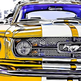 Ford Mustang Cartoon van Joost Hogervorst