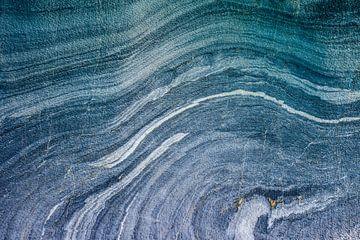 Texturen in blauw gesteente, vanuit Chili, Patagonie van Manon van Goethem