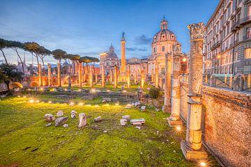 De ruïnes van het Forum in het oude Rome in Italië van Bas Meelker