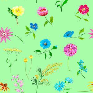 Fleurig naadloos bloemenpatroon op groene achtergrond