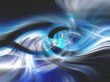 Abstract met blauw en zwart van Rietje Bulthuis