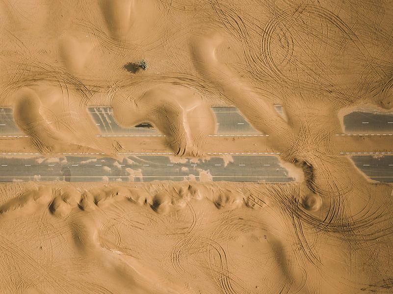 Verlassene Straße in der Wüste von Dubai von Michiel Dros