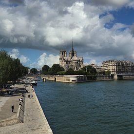 Seine en Notre Dame in Parijs van Jan Kranendonk