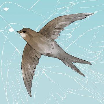 Gierzwaluw in de lucht van Bianca Wisseloo
